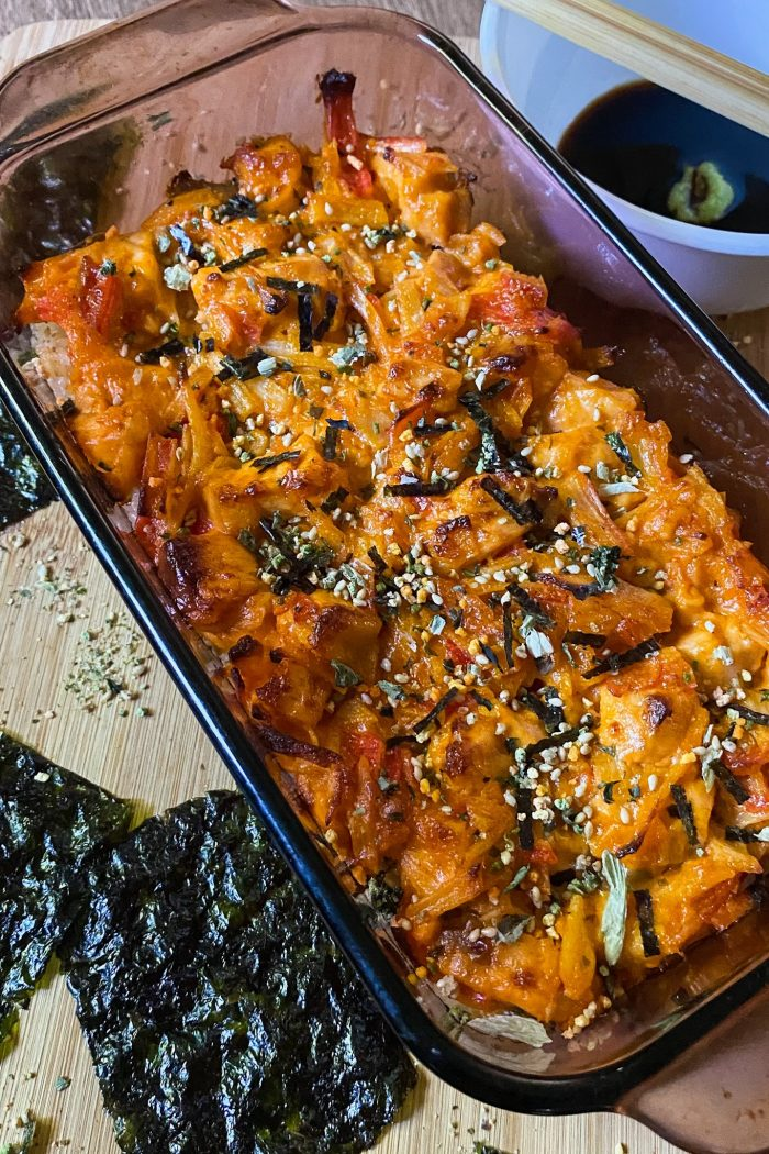 Salmon Crab Stick Sushi Bake