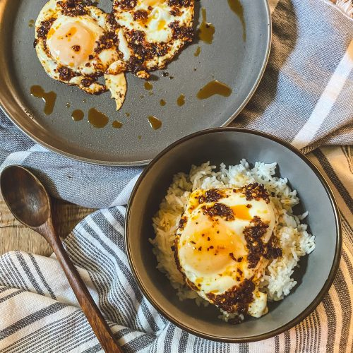 Chili Oil Eggs on rice in a bowl