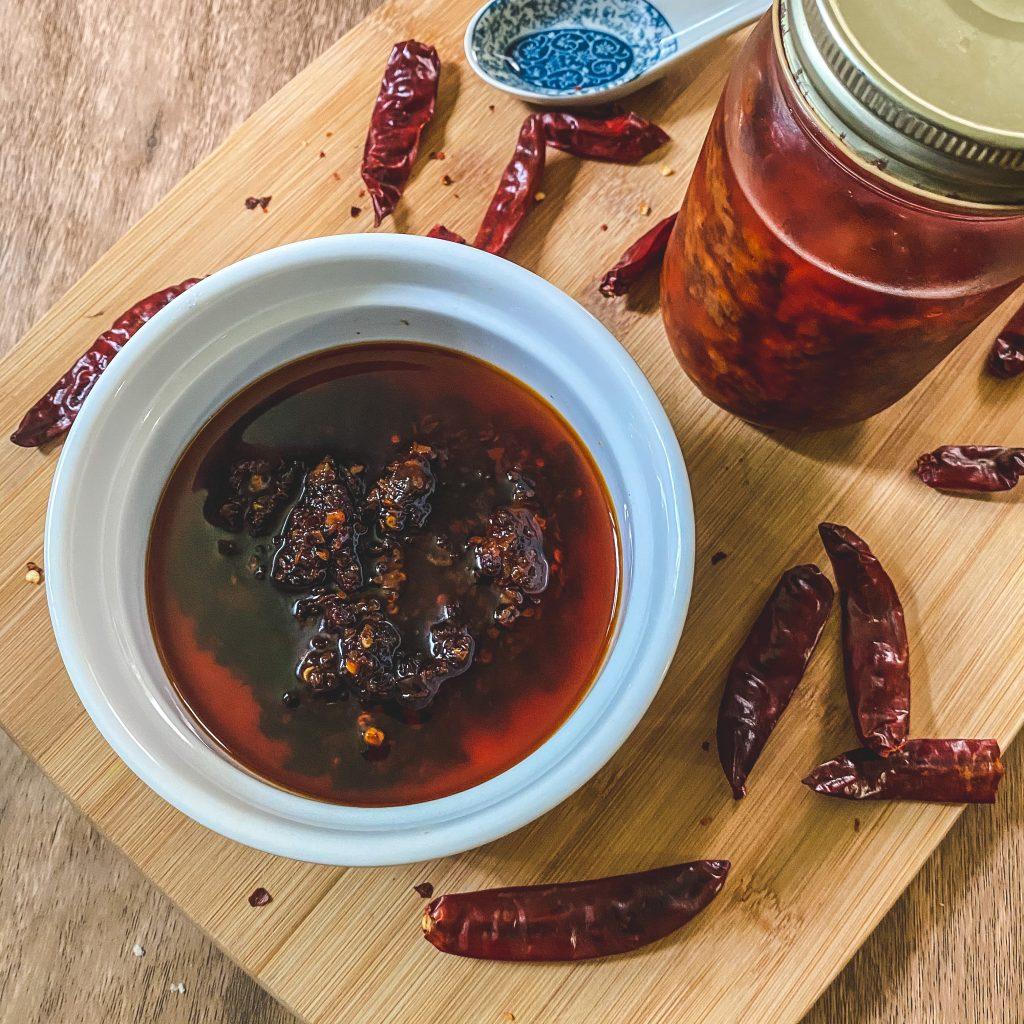 easy chili garlic oil in container