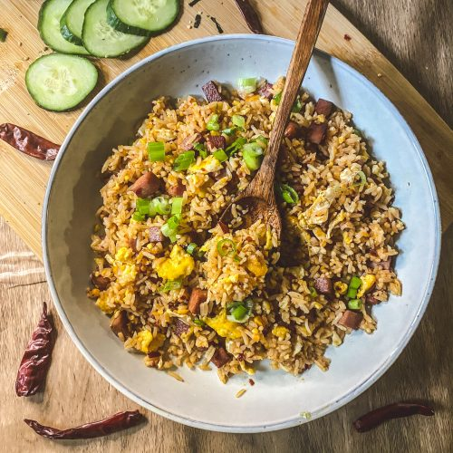 easy chili oil spam fried rice