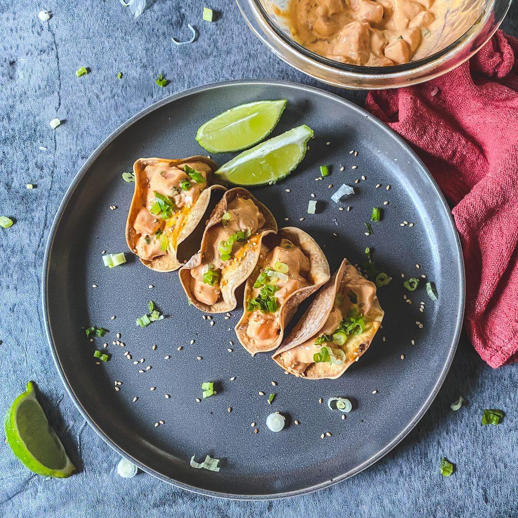 spicy mayo salmon poke sushi tacos
